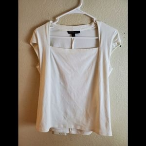 Lafayette 148 White Short Sleeve Fitted Blouse Top